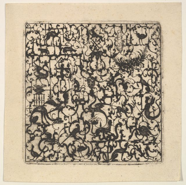 Square Blackwork Design in Silhouette Style with Schweifwerk and Grotesque Figures