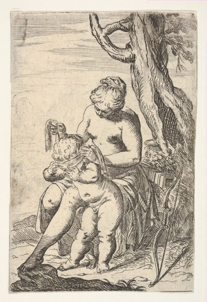 Venus tying a blindfold over Cupid's eyes, from the series 'Sport of Love' (Scherzi d'amore)