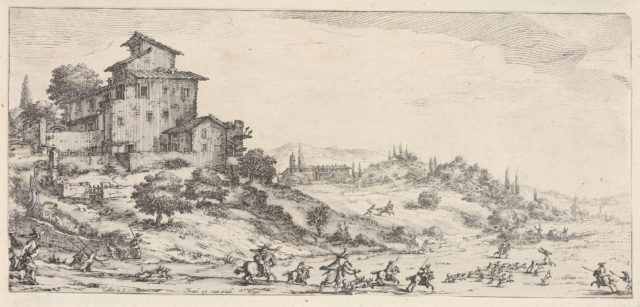 Hunters on horses and on foot, with hounds pursuing a stag, and two buildings in a hilly landscape, from the series 'Italian landscapes' (Diverse vedute designate in Fiorenza / Paysages italiens)