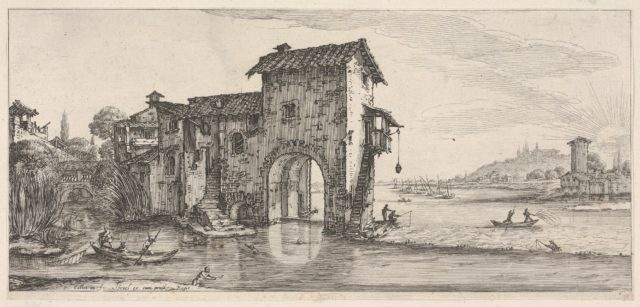 Landscape with water-mill and figures fishing in boat on the left river on the right, from the series 'Italian landscapes' (Diverse vedute designate in Fiorenza / Paysages italiens)