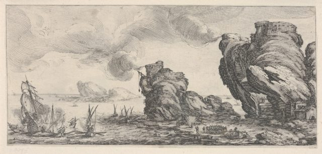 Naval battle with ruined ship and smoking battlements, from 'Italian landscapes' (Diverse vedute designate in Fiorenza / Paysages italiens)