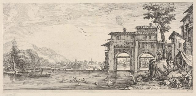 View of bathers and a large building at the right, from the series 'Italian landscapes' (Diverse vedute designate in Fiorenza / Paysages italiens)
