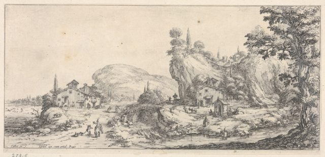 Walking and mounted figures surrounding a river traversed by a bridge, with a hilly outcrop and windmill, from the series 'Italian landscapes' (Diverse vedute designate in Fiorenza / Paysages italiens)