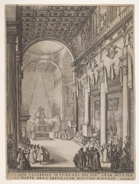 Catafalque of the Emperor Mathias with performance of funeral inside the Church of San Lorenzo, Florence