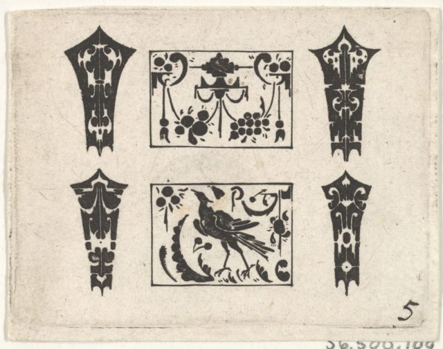 Blackwork Print with a Symmetrical Schweifwerk Pattern