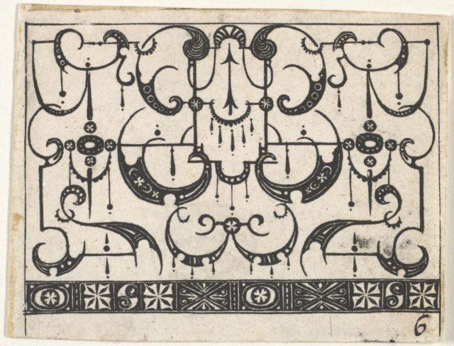Blackwork Print with an All-Over Schweifwerk Pattern