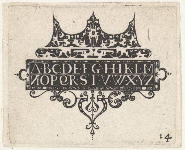 Blackwork Print with the Alphabet