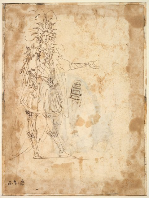 Costume Design with a Large Headdress and Long Cape