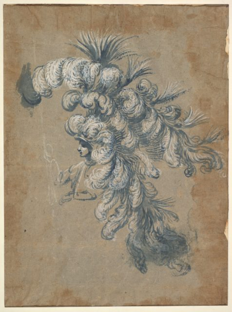 Design for a Lavish Headdress with Feathers