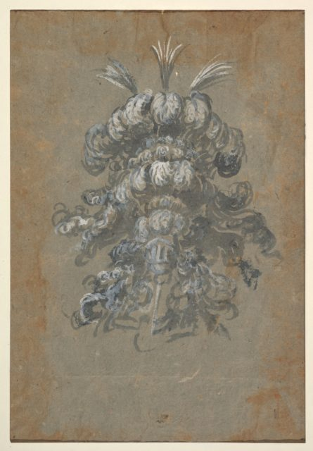 Design for a Lavish Headdress with Feathers on a Helmet (frontal view)