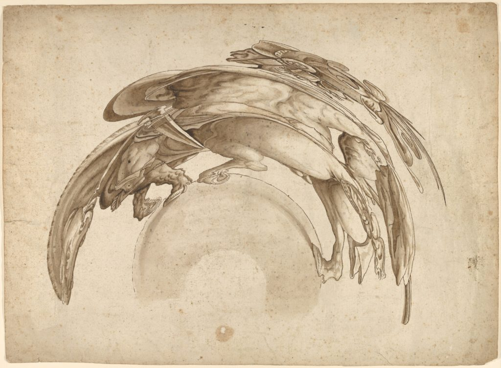 Soldier on Horseback in Catoptric Anamorphosis (after Hendrick Goltzius)