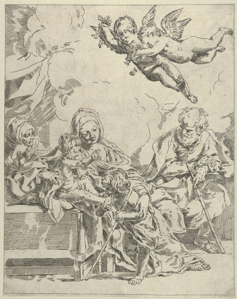 The Holy Family with young John the Baptist and Saint Elizabeth, two angels above, after Reni