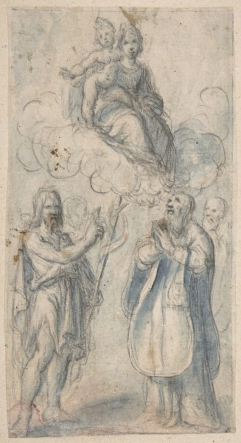 The Virgin and Child with Saint John the Baptist, Pope Saint Dionysius, Filippo Neri and a Male Saint