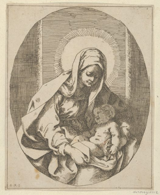 The Virgin holding the infant Christ on her lap, an oval composition, after Reni
