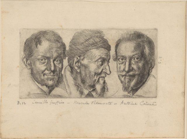 Three portraits possibly representing Camillo Graffico, Ercole Pedemonte and Antonio Carone