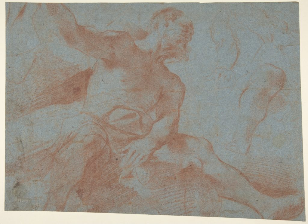 Seated Old Man with Right Arm Upraised (Tithonus) (recto); Seated Nude Youth (figure of Day) (verso)
