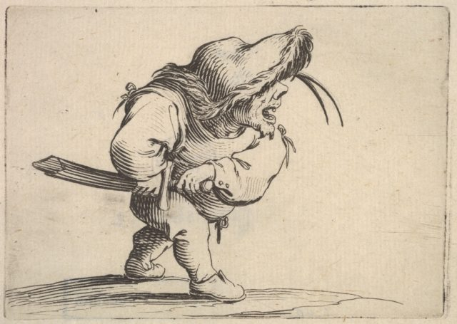 Small male figure stopping to draw his sword, in profile view with open mouth and left foot positioned forward, from the series 'Varie figure gobbi'