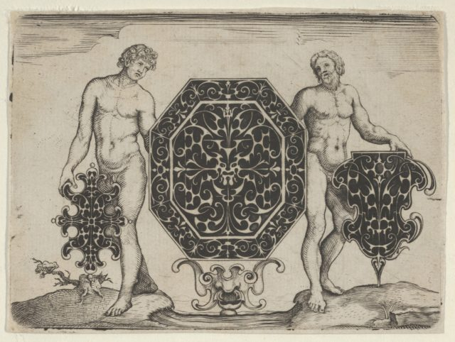 Octagonal Case and Two Other Motifs Held by Ignudi