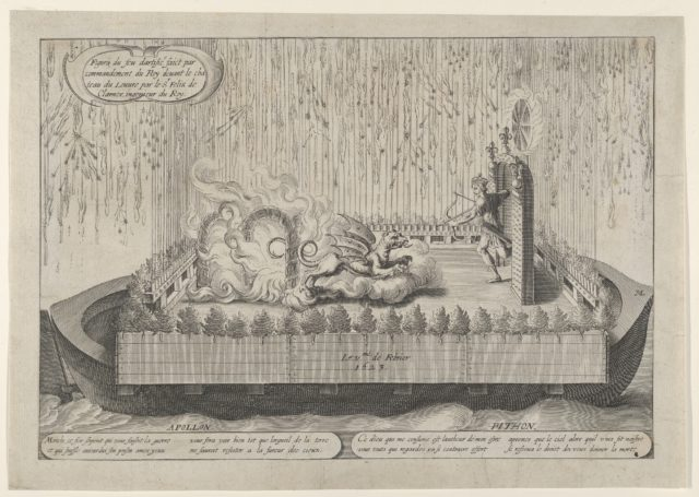 Float with Apollo and the Python, from the fireworks display celebrating Louis XIII's return from a military campaign, Paris, February 1623