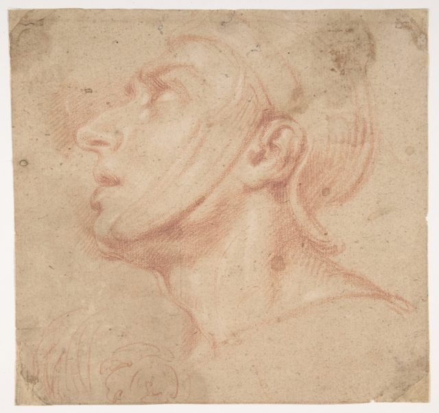 Head of a Man Wearing a Helmet, Looking to Upper Left (recto); Two Sketches, Arms and Hands (verso)