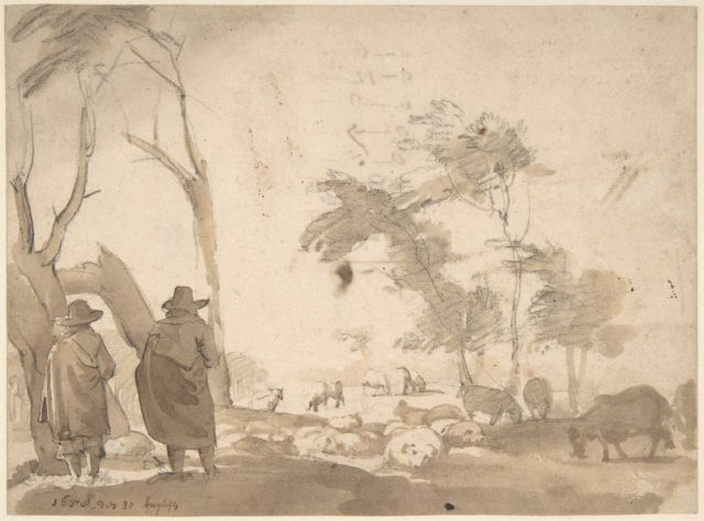 Landscape with Sheep and Two Figures (recto); Faint Sketch of a Figure with a Hat (verso)