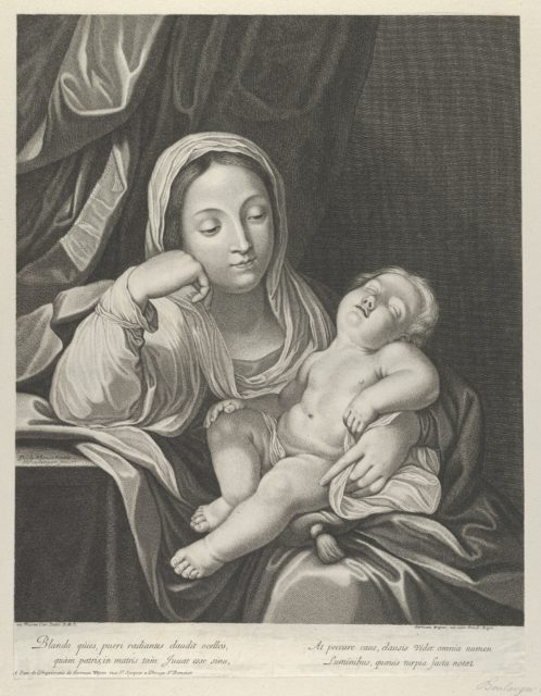 The Virgin seated with her head resting on her right hand, holding the sleeping infant Christ on her lap, after Reni