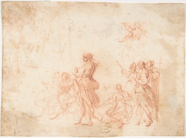 Group of Standing and Seated Female Figures (recto); Costumed Female Figure (verso)