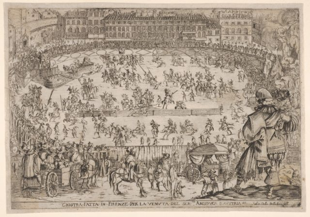 Joust held in Florence for the arrival of the archduke of Austria, an oval arena with many horsemen and pedestrians, spectators in carriages in the foreground, a row of houses at center in the background, from 'Combattimento e balletto a cavallo'