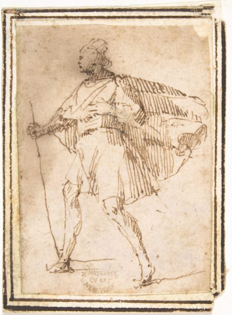 Standing Male Figure with Cloak and Staff
