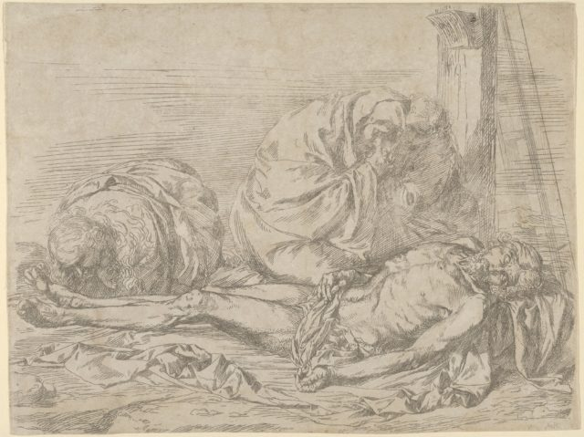 The Virgin, Saint John the Baptist, and Mary Magdalen weeping over Christ's dead body