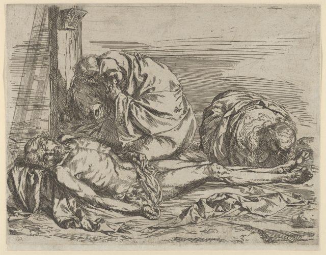 The Virgin, Saint John the Baptist, and Mary Magdalene weeping over Christ's dead body