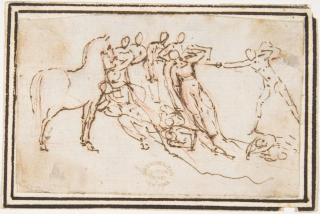 Unidentified Subject:  Nine Figures and a Horse