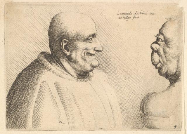 A large man with a bald head facing a grotesque female