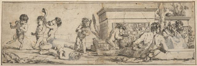 Bacchanal with infant satyrs and putti at left, a naked male figure reclines in front of a pedestal carved in bas-relief, two clothed figures look toward the right