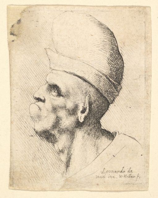 Bust of a deformed man wearing a bulbous hat in profile to the left
