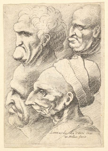 Four grotesque heads in profile to left
