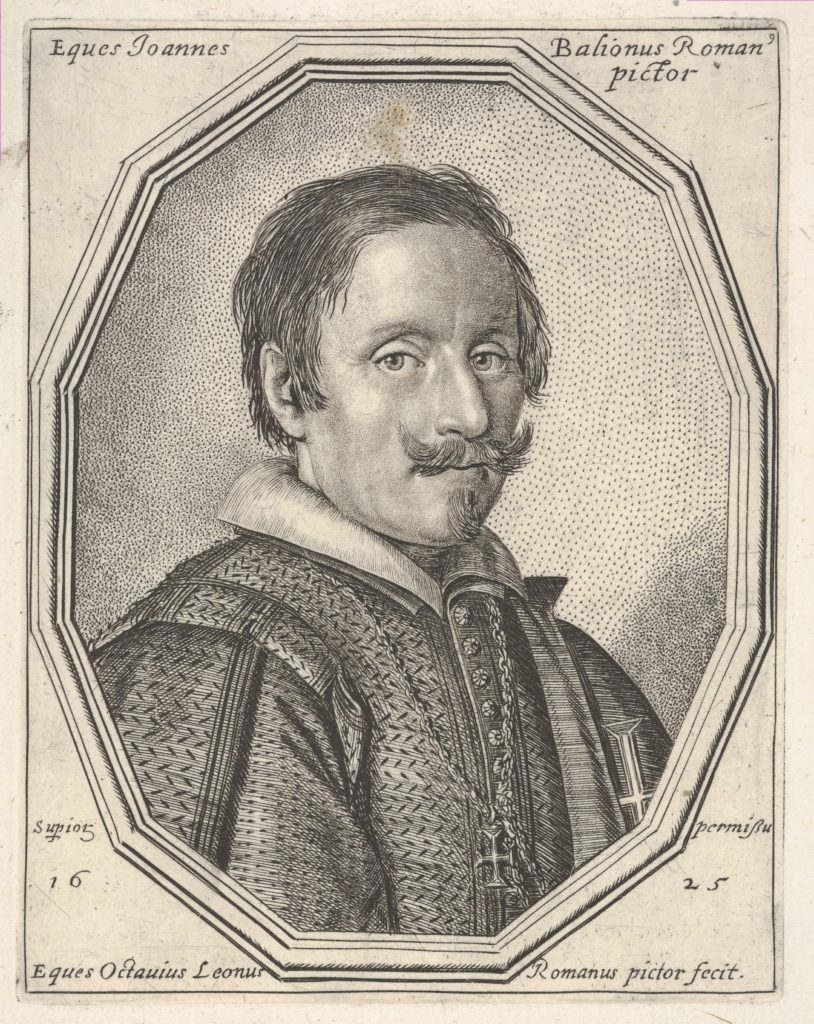 Giovanni Baglione, a bust-length portrait in a twelve-sided frame