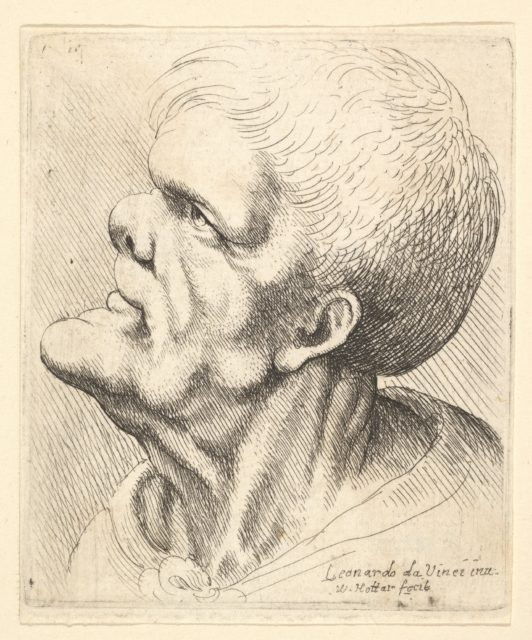 Head of a man with protruding chin and snub nose looking upwards in profile to left