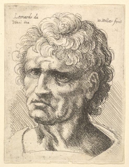 Head of a man with serious expression
