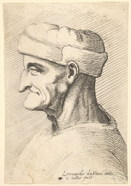 Head of an old man wearing cap in profile to left