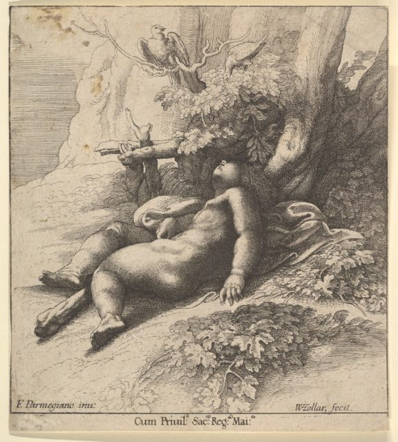 Infant Hercules asleep