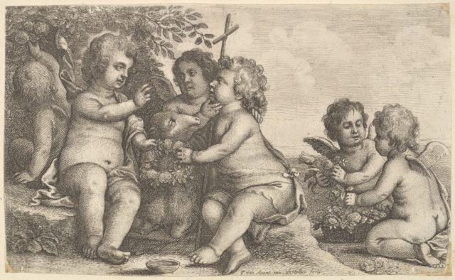 Jesus, St. John the Baptist and four cherubs