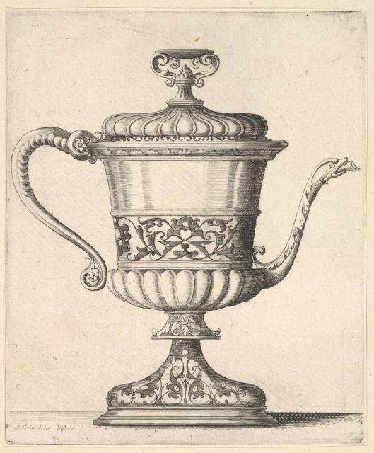Jug with lid, engraved with arabesque pattern, the narrow spout to right ending in snake's head, handle to left.