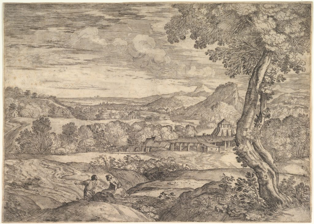 Landscape with a brick factory in the middle ground, a standing man in the foreground points to the left as he faces a man lying on a rock