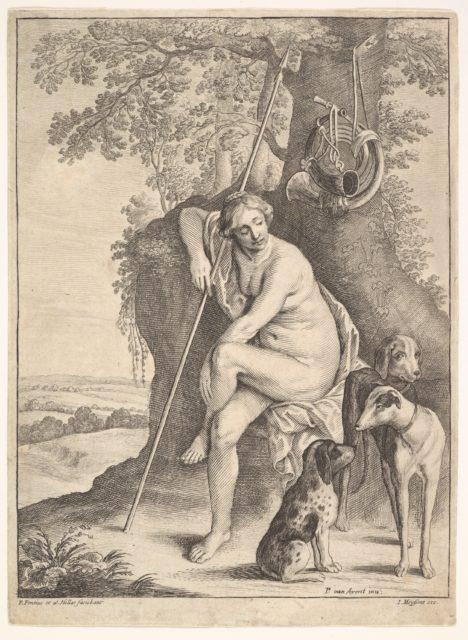 Seated figure of Diana the huntress