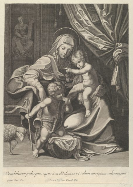The Virgin seated with the infant Christ on her lap, the young Saint John the Baptist kneeling on Christ's cradle and kissing his foot, a lamb at left, after Reni