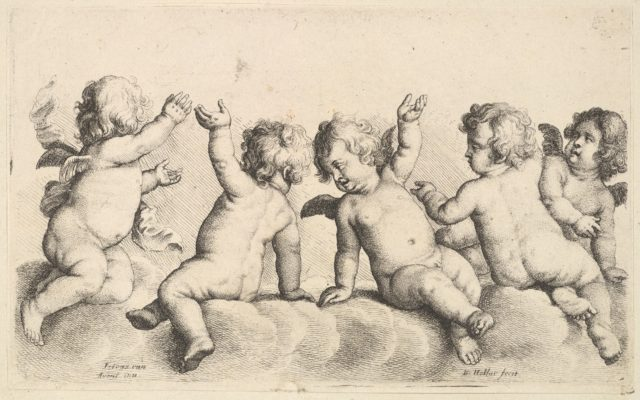 Three cherubs and two boys on clouds