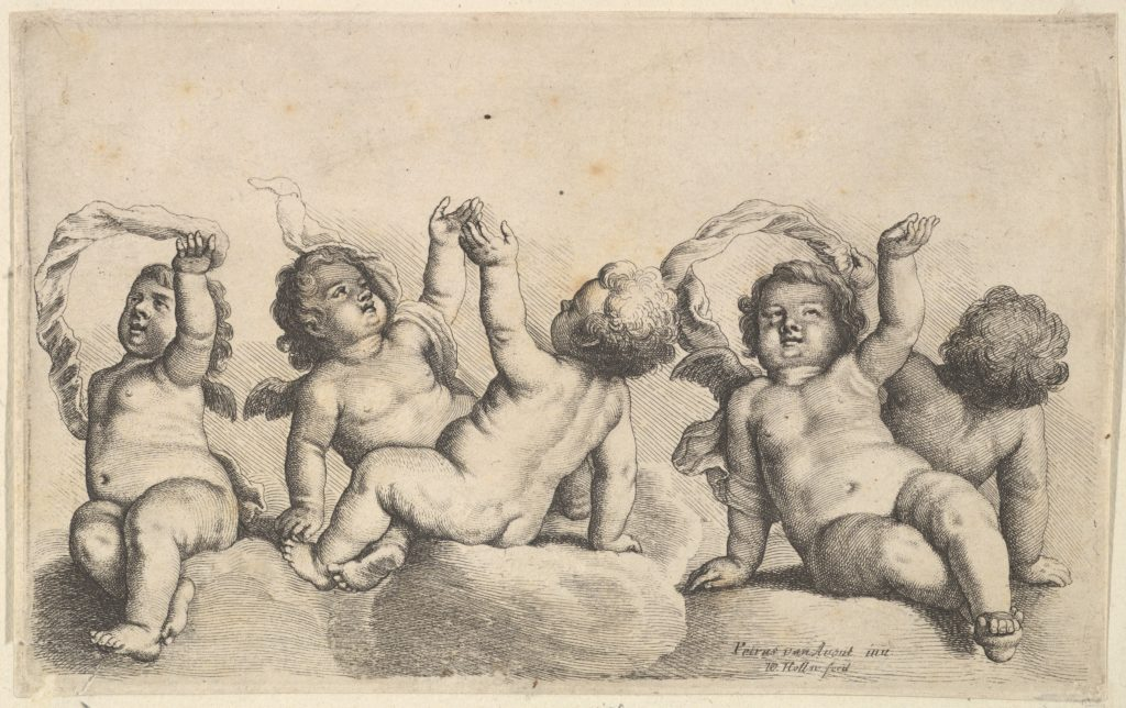 Three cherubs and two boys on clouds, each raising one arm