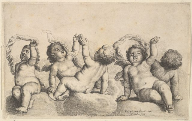 Three cherubs and two boys on clouds, each raising one arm