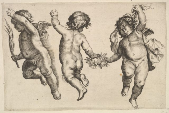 Two cherubs dancing with a small boy, not by Hollar